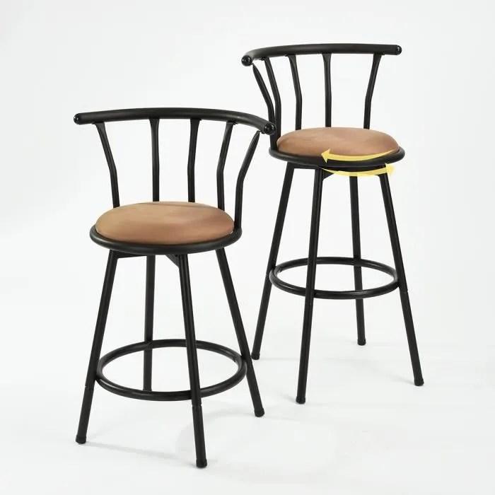 furniturer lot de 2 tabourets de bar bistrot cuisine chaises de bar haute avec repose pieds design pivot a 360 en metal tissu 30