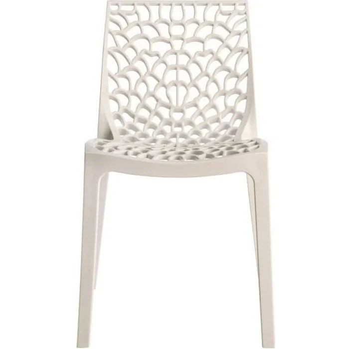 Chaise Empilable Gruvyer Blanc Achat Vente Chaise