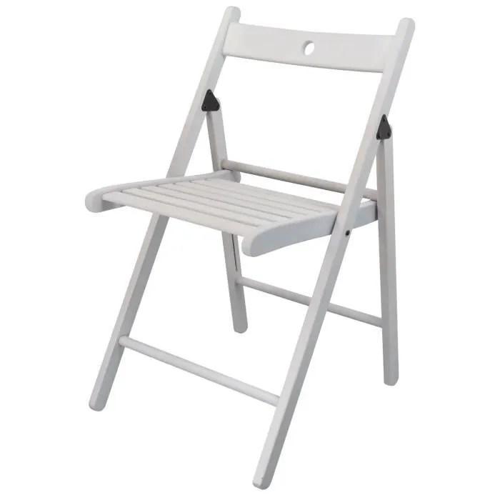 harbour housewares chaise pliante en bois blanc couleur bois