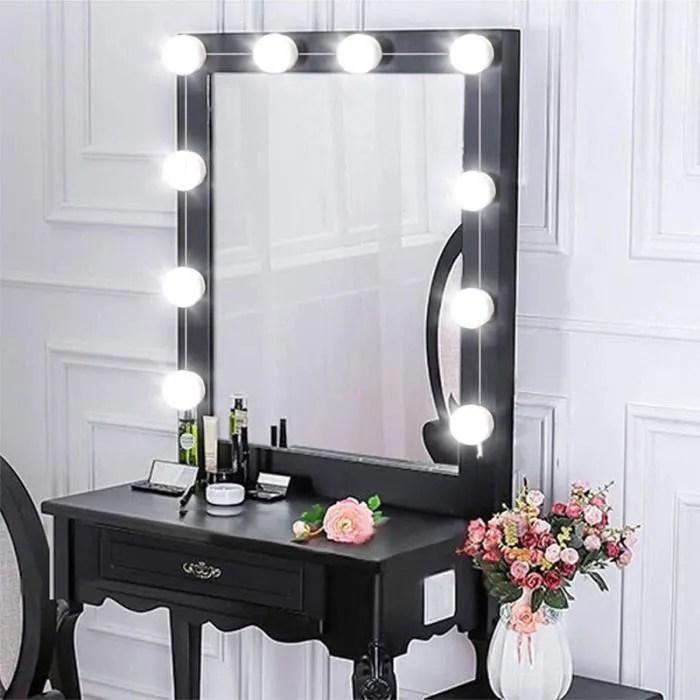 kit de lumiere led pour vanity miroir lampe pour miroir dimmable 10 ampoules led guirlandes lumineuses pour salle de bain