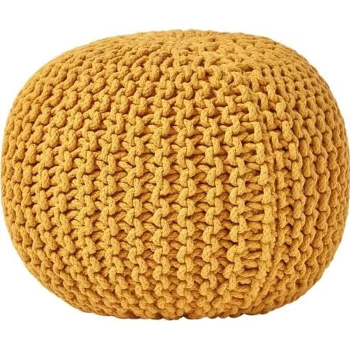 pouf en tricot rond jaune