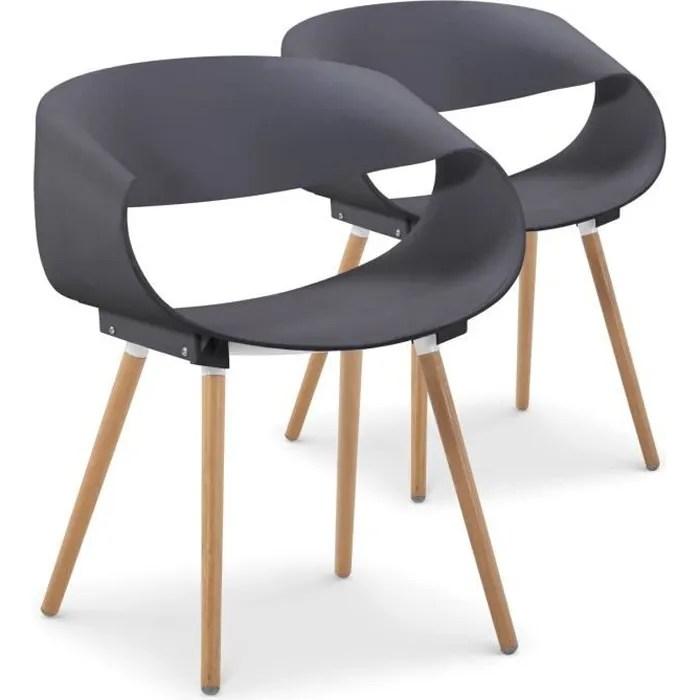 lot de 2 chaises scandinaves design zenata gris