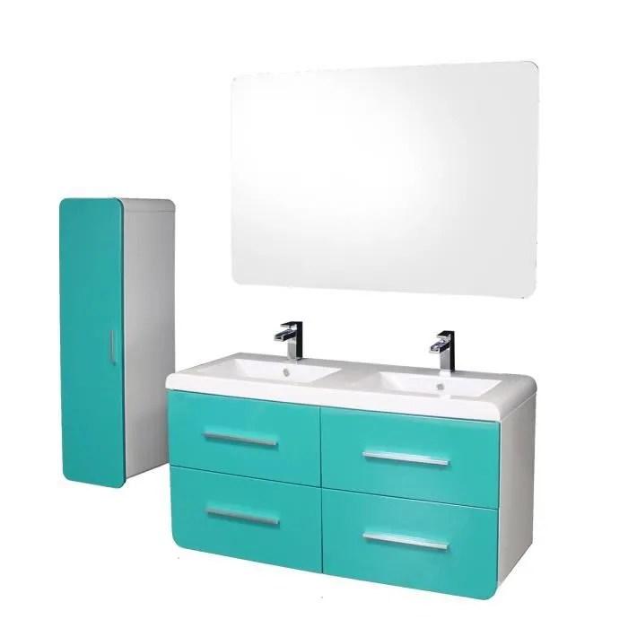 gino salle de bain complete double vasque l 121 cm bleu lagon et blanc laque brillant