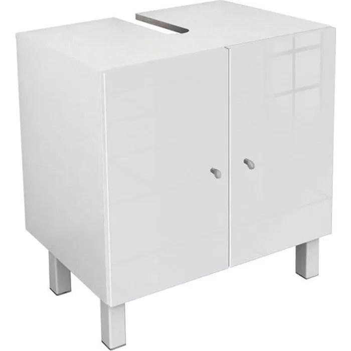 corail meuble sous lavabo l 60 cm blanc laque