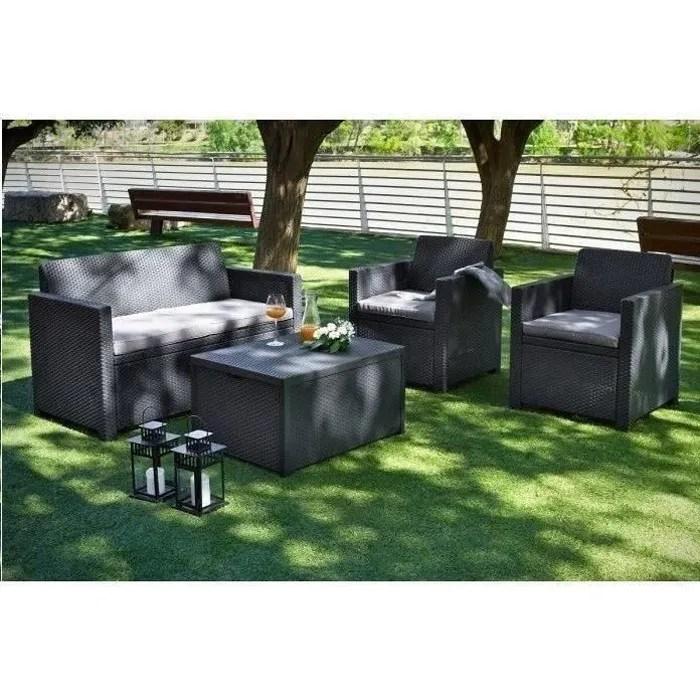 allibert salon de jardin merano 4 places avec table coffre imitation resine tressee gris