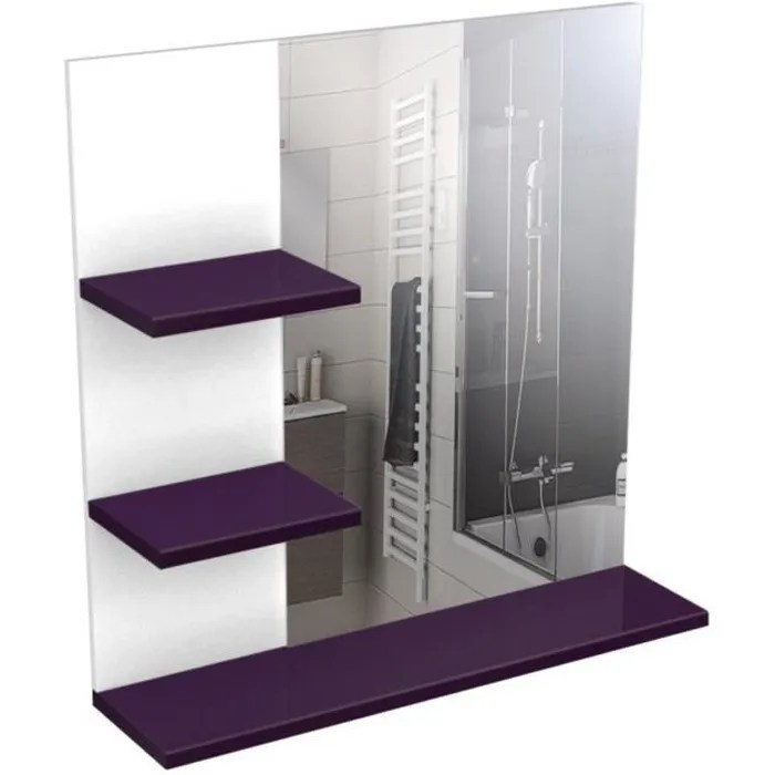 CORAIL Meuble Miroir De Salle De Bain 60 Cm Aubergine