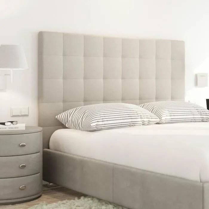 sogno tete de lit capitonnee style contemporain tissu beige l 160 cm