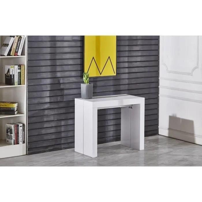 zack table console extensible 10 personnes style contemporain 45 250x90 cm laque blanc