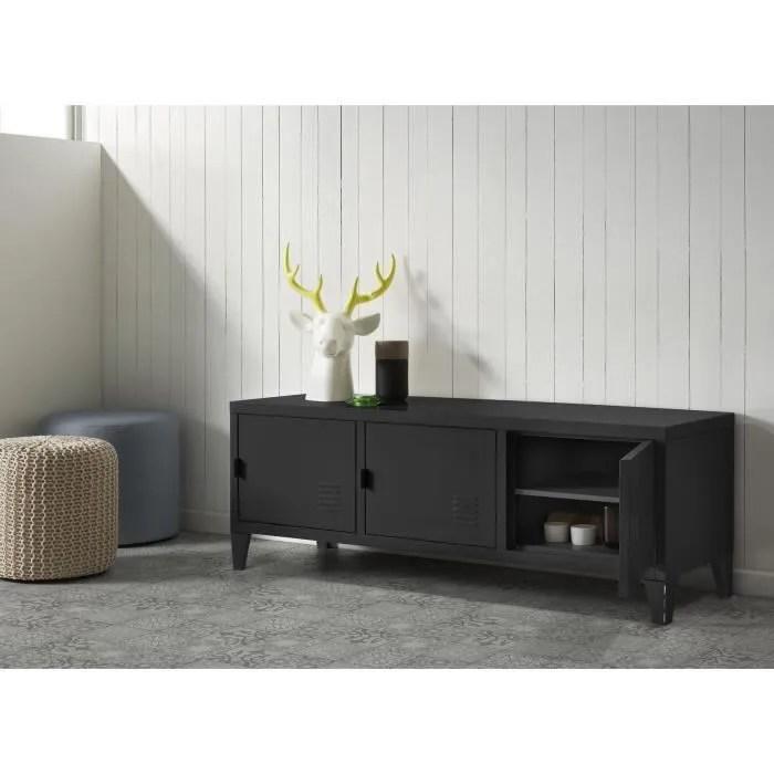 college meuble tv 120 cm metal noir