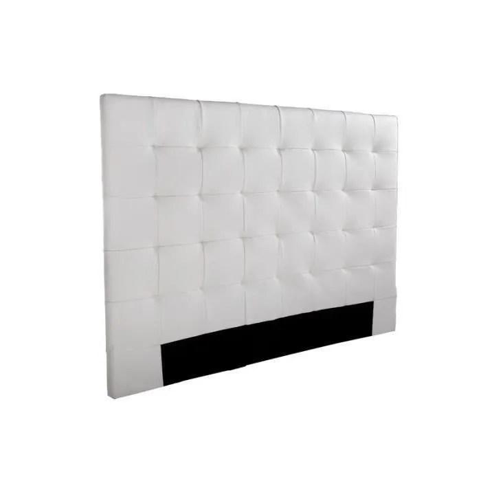 sogno tete de lit capitonnee simili blanc l 160 cm