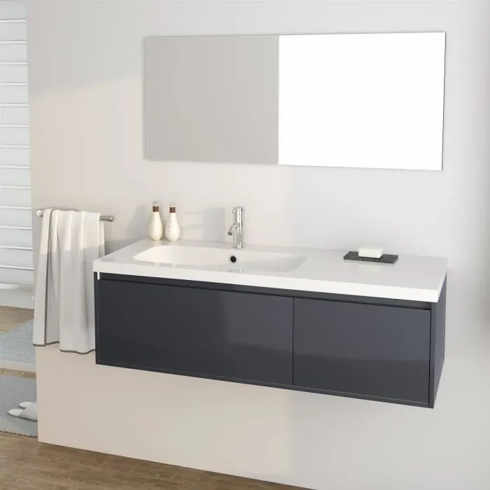 girona ensemble meubles de salle de bain simple vasque l 120 cm gris laque brillant