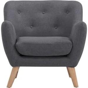 scandi fauteuil scandinave en tissu chine gris anthracite l 79 x p 82 cm