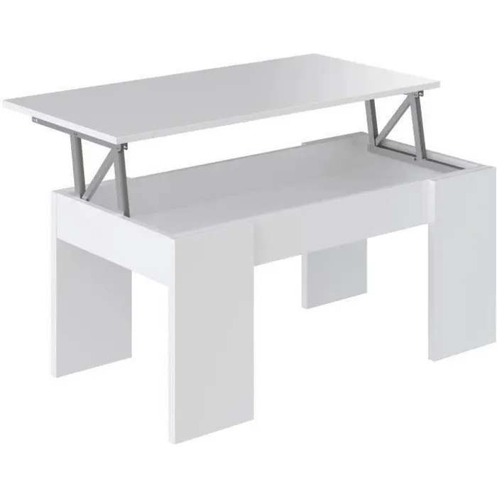 SWING Table basse plateau relevable style contemporain blanc mat   L     SWING Table basse plateau relevable style contemporain blanc mat   L 100 x  l 50 cm