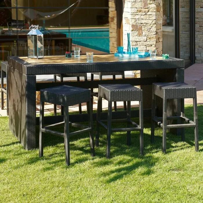 CUBA Ensemble Table Bar De Jardin Et 6 Tabourets Rsine
