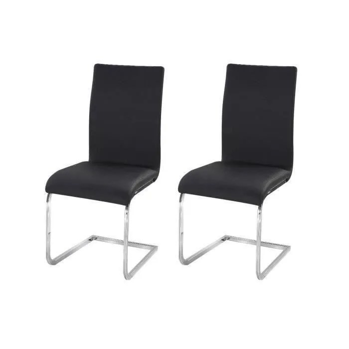lea lot de 2 chaises de salle a manger simili noir contemporain l 43 x p 56 cm