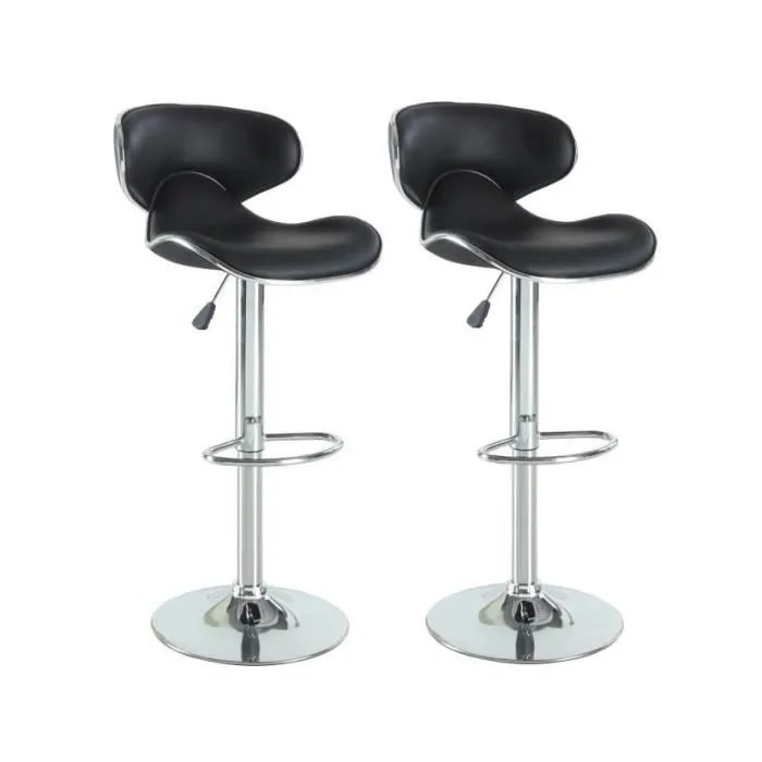 york lot de 2 tabourets de bar reglables simili noir contemporain l 51 x p 50 cm