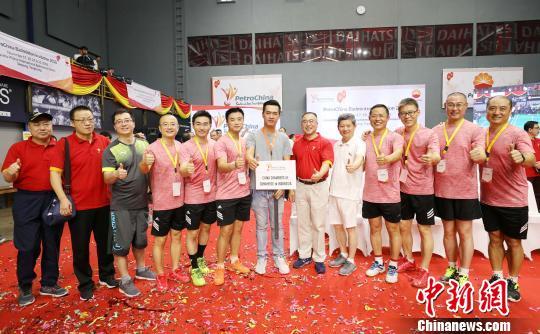 圖為參賽的印尼中國商會代表隊。 林永傳 攝