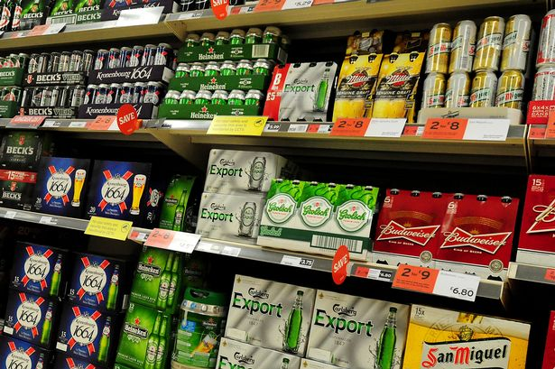 Alcohol on the shelf at a supermarket