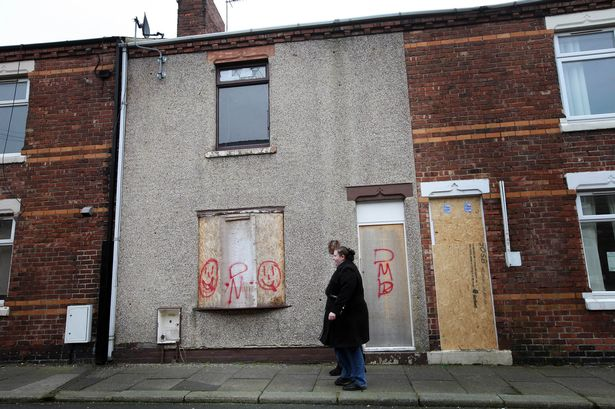 Some of the run down and boarded up houses in the Horden area
