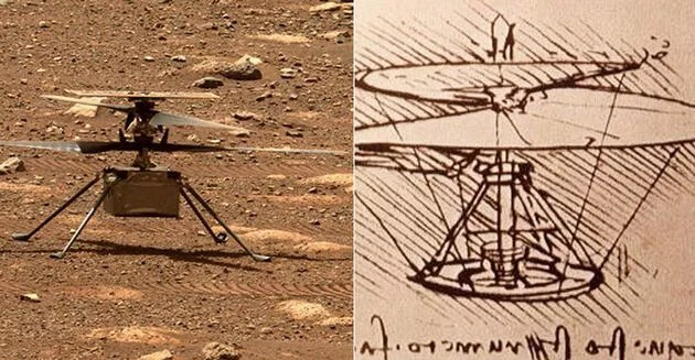 NASA, Mars'ta ilk kez helikopter uçurarak tarihe geçti, Da Vinci'nin çizimi gündem oldu