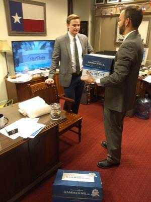 Delivering Petitions to Chairman Leach