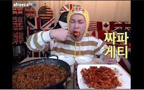 [韩国吃播][花猪]炸酱面