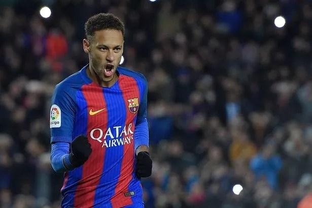 Neymar celebrates after scoring