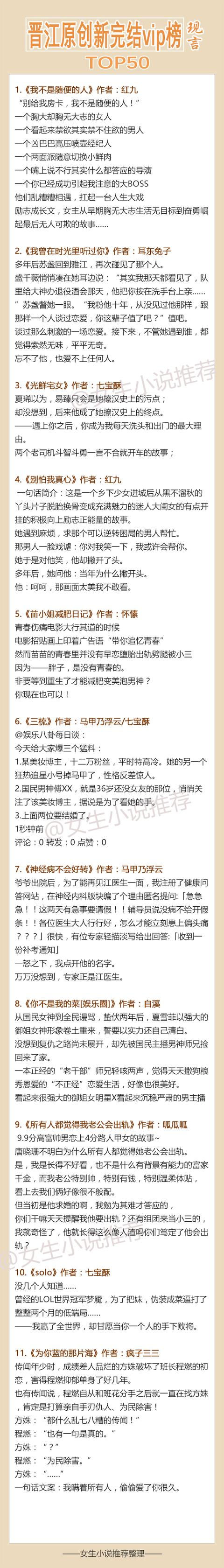 最新晉江VIP完結現代言情小說top50,50本現言解決書荒 - 每日頭條