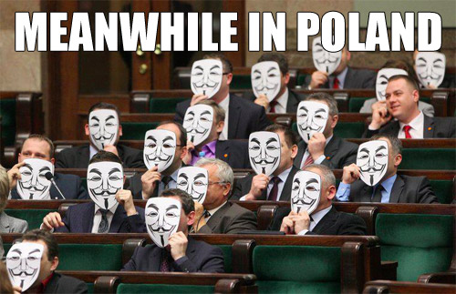 Polish members of Sejm house protesting the governments signing of ACTA into law