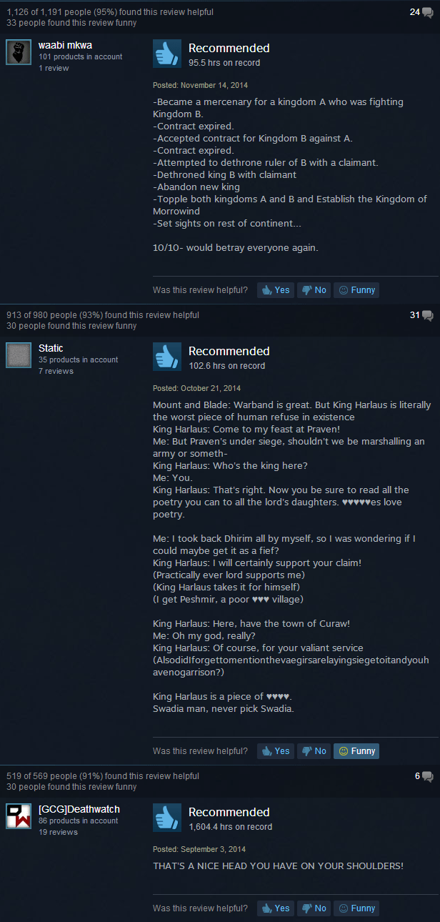 Mount Amp Blade Warband Joke Reviews Steam User Reviews Know Your Meme