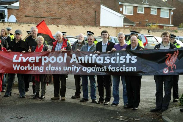 BNP meeting at the Cricketers Club,Sandown Lane,Wavertree. Liverpool Antifascists including Cllr Joe Anderson(leader of Liverpool City Council)2nd right, demonstrating against the BNP outside the Cricketers Club