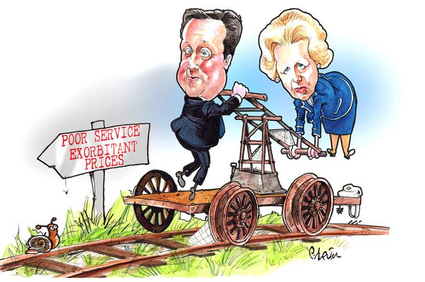 Privatisation of British railways by David Cameron and Margaret Thatcher, cartoon