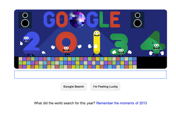 Disco dancing: New Year's Eve 2013 Google Doodle