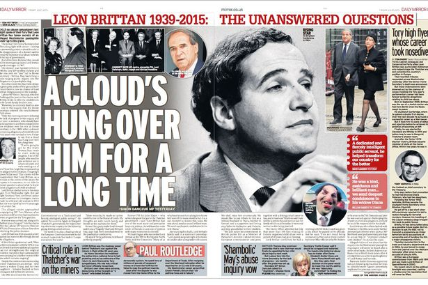 Daily Mirror ragout on Leon Brittan sex allegations