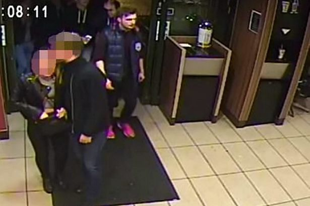 CCTV images of three men officers would like to speak to in connection with a suspected assault in which a womans hair was set alight.
