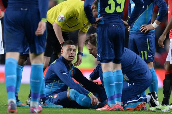 Alex Oxlade-Chamberlain receives treatment after picking up an injury