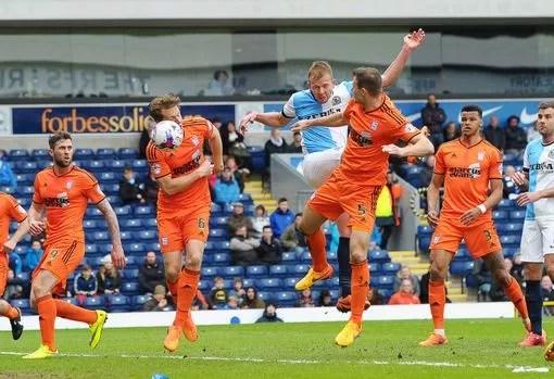 Jordan Rhodes scores Blackburn's first goal