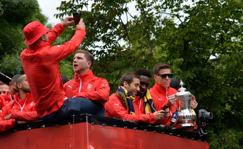 Players on the bus celebrating