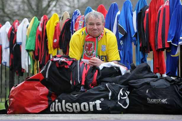 David O'Mar of Fairwater has collected thousands of football kits to give to children in Eastern Europe