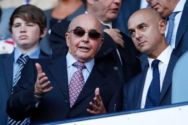 Tottenham owener Joe Lewis speaks to Chairman Daniel Levy