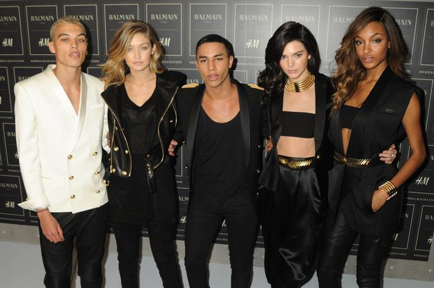 Dudley O'Shaughnessy, Gigi Hadid, Olivier Rousteing, Kendall Jenner, and Jourdan Dunn