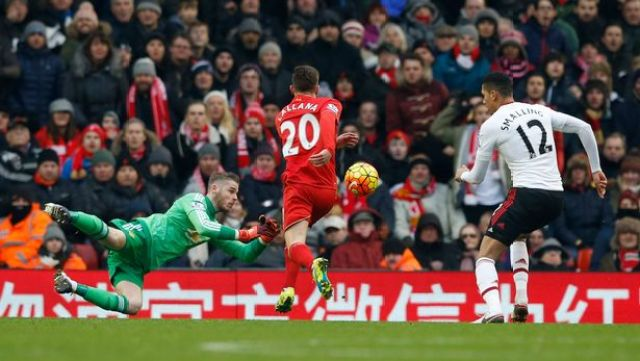 Adam Lallana has a header saved by David De Gea