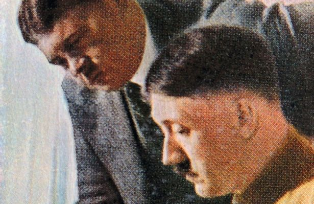 Adolf Hitler conferring with SA leader Ernst Roehm 1933