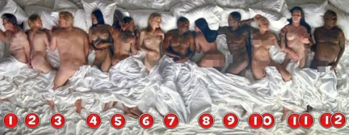 The 12 naked famous people in Kanye West's
