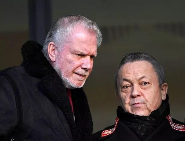 West Ham's co-owners David Gold (L) and David Sullivan