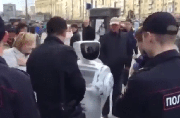 Promobot is 'arrested' at Russian political rally