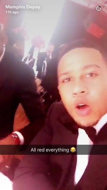 Memphis Depay mocks Paul Pogba on Snapchat after he spilt red wine on himself at the United for UNICEF dinner