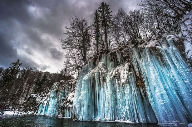 Frozen Waterfall In Plitvice Lakes