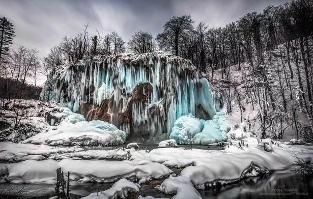 Frozen Waterfall In Plitvice Lakes