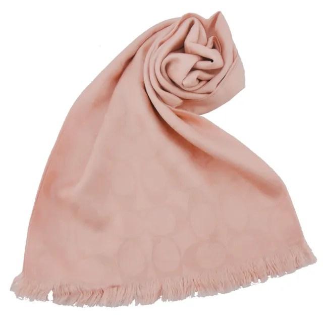 COACH C LOGO 羊毛混絲流蘇圍巾
